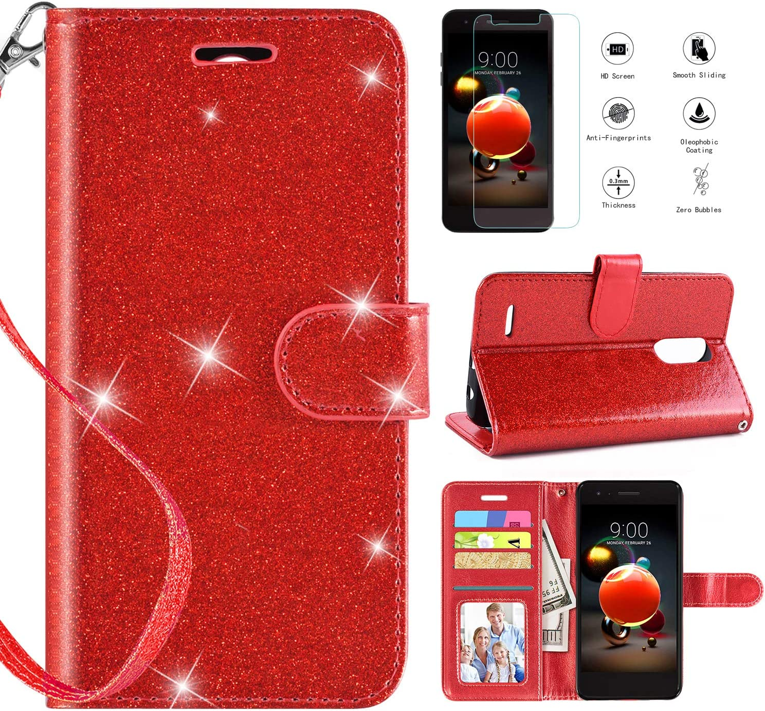 LG Aristo 2 Case Wallet w Screen Protector,LG Tribute Dynasty/LG Zone 4/LG Aristo 2/LG Fortune 2/LG Risio 3/LG K8+ Plus/LG K8 2018/LG Phoenix 4/LG Rebel 4 Wallet Case,Kickstand Wrist Strap,Red