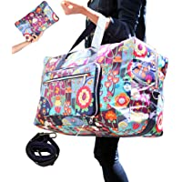 WFLB Travel Duffel Bag Foldable Floral Large Travel Bag Weekend Bag Checked Bag Luggage Tote 18 Style 21.6IN x 9.8IN x 13.7IN