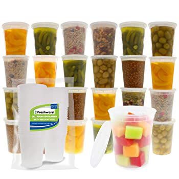 Freshware 24 Set Deli Meal Prep Freezer Containers