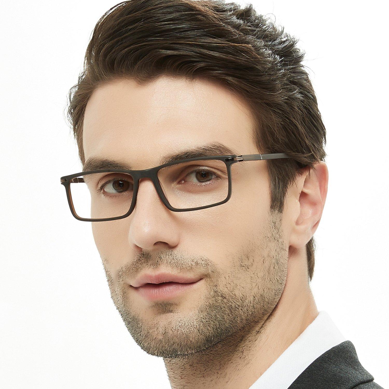 OCCI CHIARI Rectangular Stylish Eyeware Frames Prescription Eyeglasses with Acrylic Lenses Gifts for Men (Brown,52)