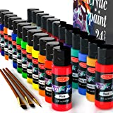 Acrylic Paint Set of 24 Colors 2fl oz 60ml Bottles,Non Toxic 24 Colors Acrylic Paint No Fading Rich Pigment for Kids Adults A