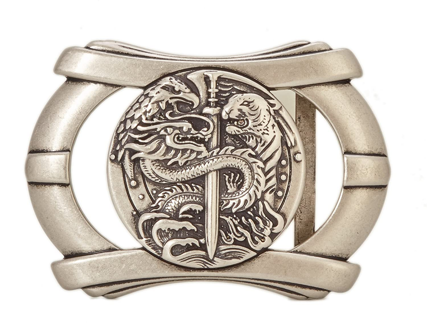 Gurscour Western Dragon Belt Buckle -Retro Silver Color