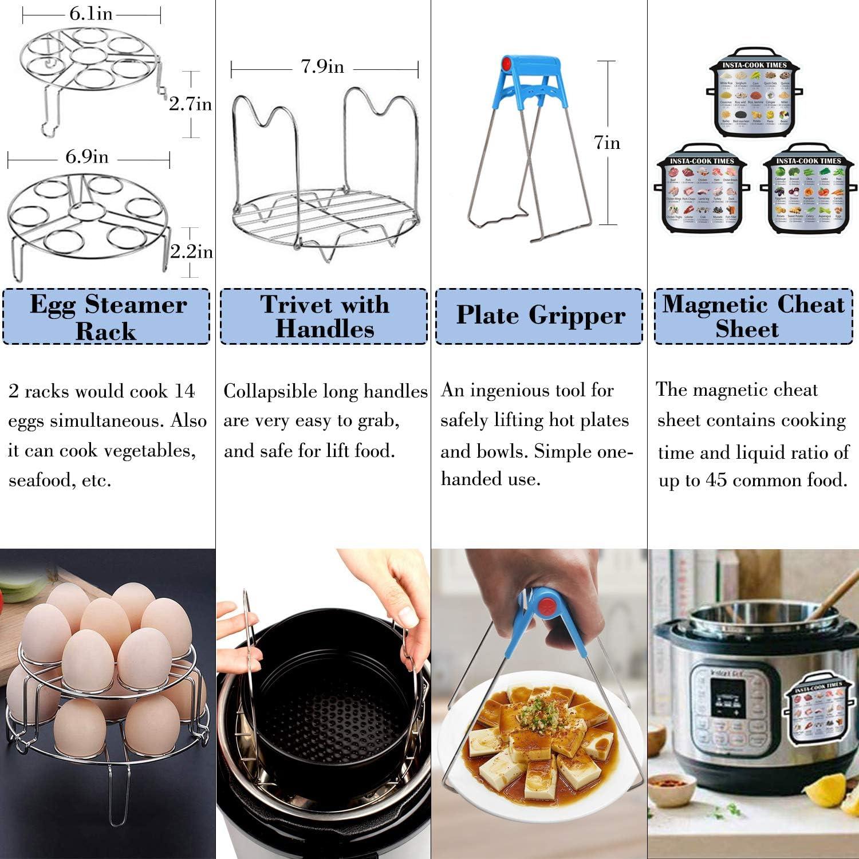 18 Pcs Pressure Cooker Accessories Compatible with 5,6,8 Qt Instant Pot Steamer Basket Kitchen Tong Plate Gripper Egg Beater Springform Pan