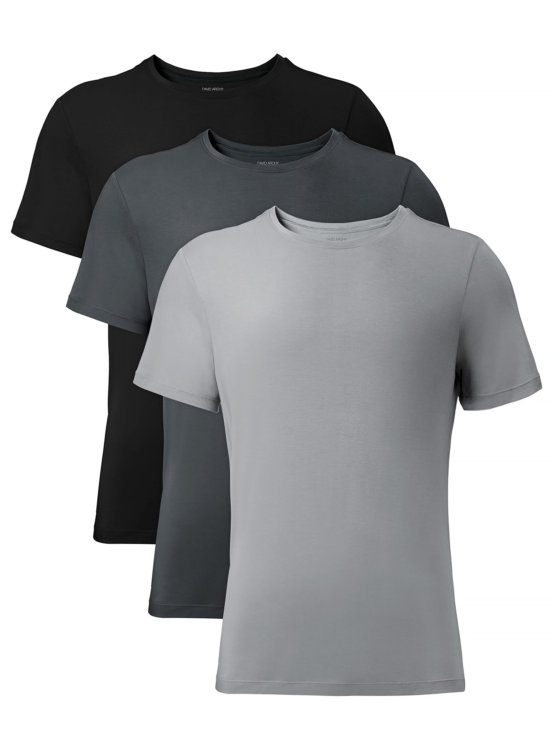 David Archy Men's 3 Pack Bamboo Rayon Undershirts Crew Neck Slim Fit Tees Short Sleeve T-Shirts(M,Black/Charcoal/Gray)