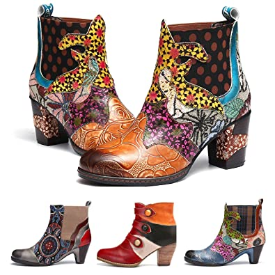 fdf27694beeb27 Camfosy Bottines Femme Hiver Talons, Bottes Chelsea en Cuir Boots Chelsea  Bout Pointu Chaussures de