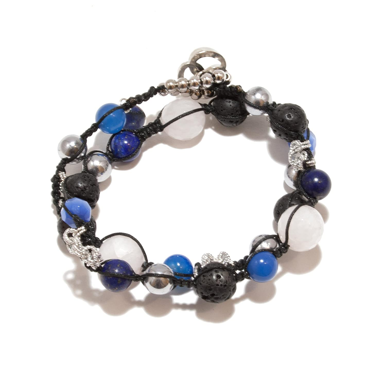jahamota Spiritual pulsera azul lapis piedra volcánica de cristal de roca