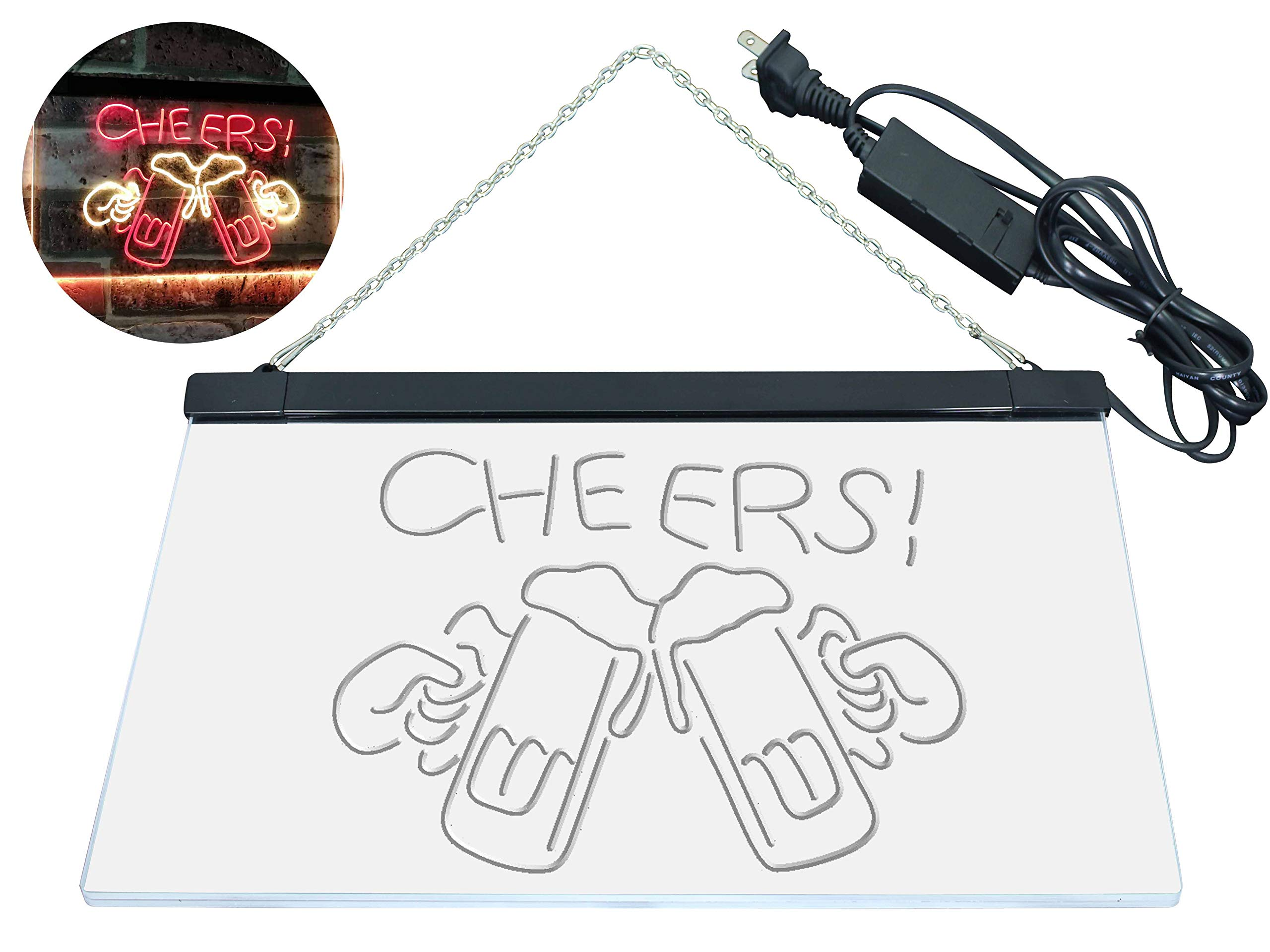 AdvpPro 2C Bar Cheers Beer Mugs Glass Home Décor Dual Color LED Neon Sign Red & Yellow 12'' x 8.5'' st6s32-i2857-ry