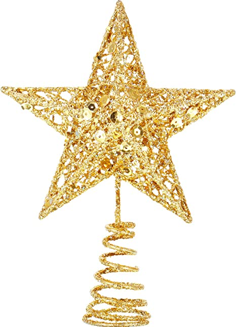 with four 6/' tails Glittery Gold Tree Topper