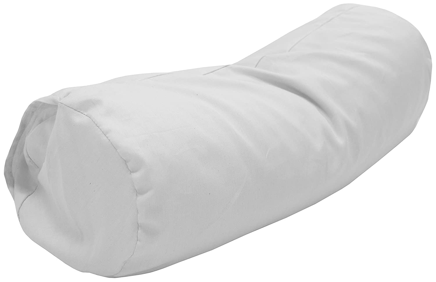 ORG COT + KAPOK + WHITE ORG CASE NECK ROLL w Case - 6 x 16 Bean Products Queen Organic Kapok Pillow + Natural Org Case - 20  x 30  - Organic Cotton Zippered Shell - Made in USA