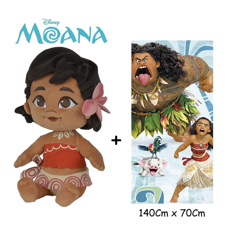 Disney - Vaiana - Set de Peluche Vaiana Bebé 25 cm(Famosa 760016403) Calidad Super Soft + Toalla de playa 100% algodón (140x70cm): Amazon.es: Juguetes y ...