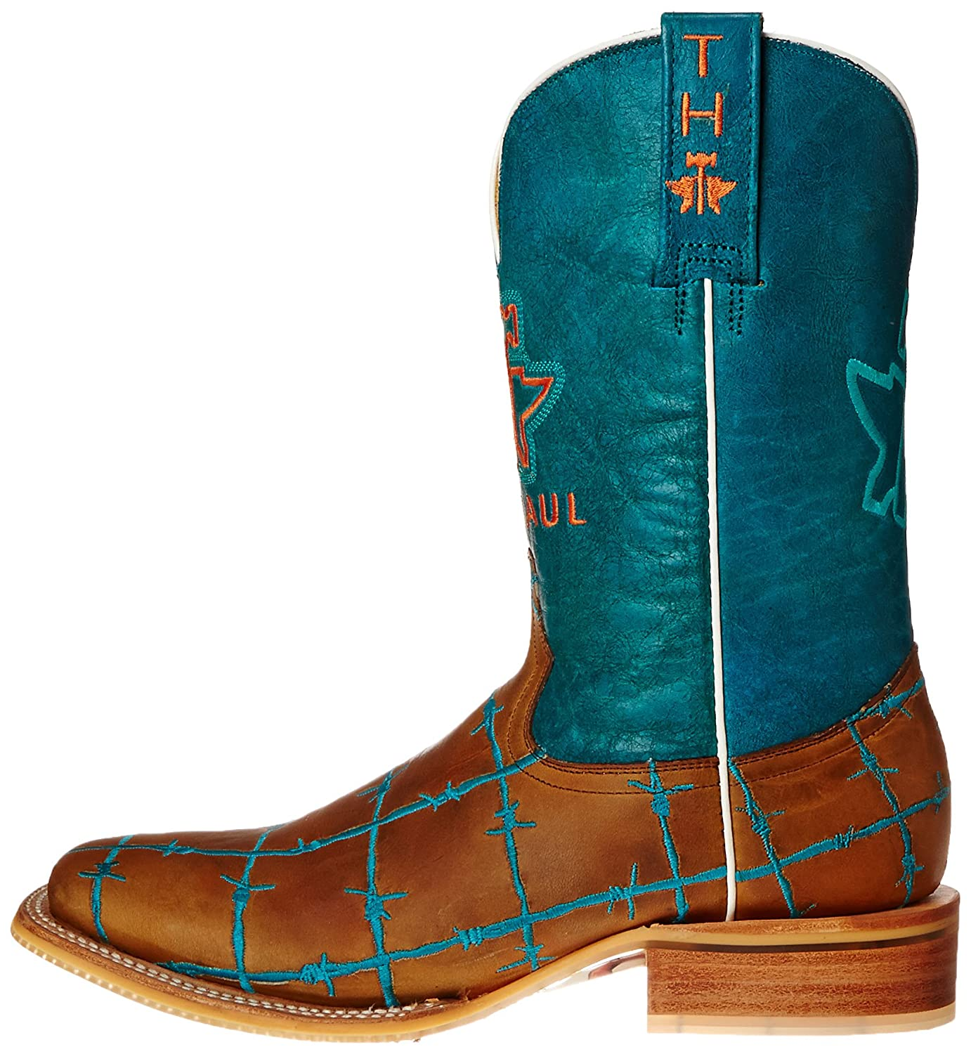 d9b5d4cdcf2 Tin Haul Shoes Women's Barb'D Wire Western Boot, Tan & Turquoise, 11 ...