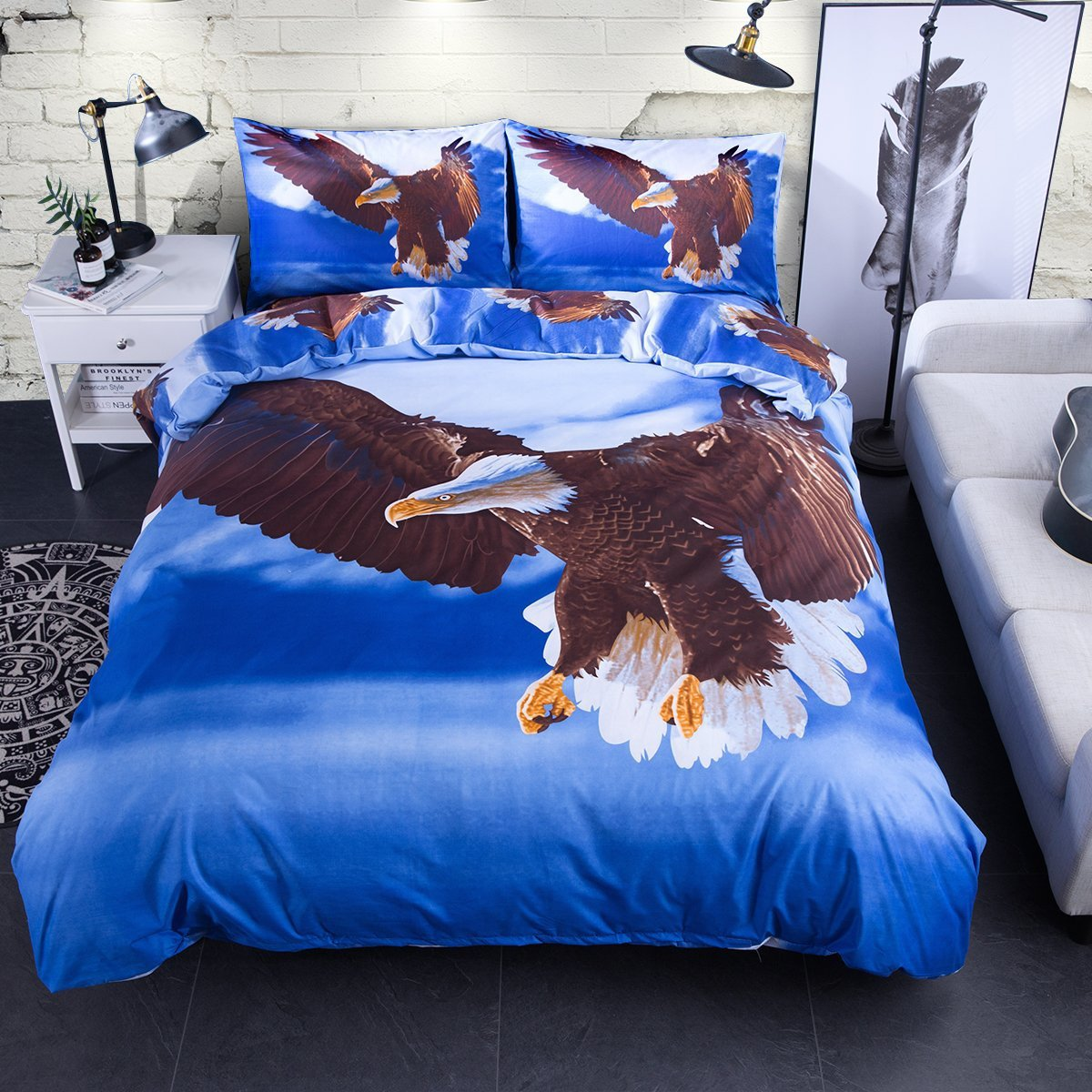 Jml Duvet Cover Set - 3 Pieces 3d Animal Print Bedding Sets - Hypoallergenic Microfiber Down Comforter Quite Cover Zipper & Tie for Women & Men's Bedroom (Eagle, King) by Jml
