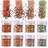 besharppin 8 Boxes Glitters Sequins, Chunky and Fine Glitter Mixed for Halloween Body Face Hair Makeup Nail Art Crafts…