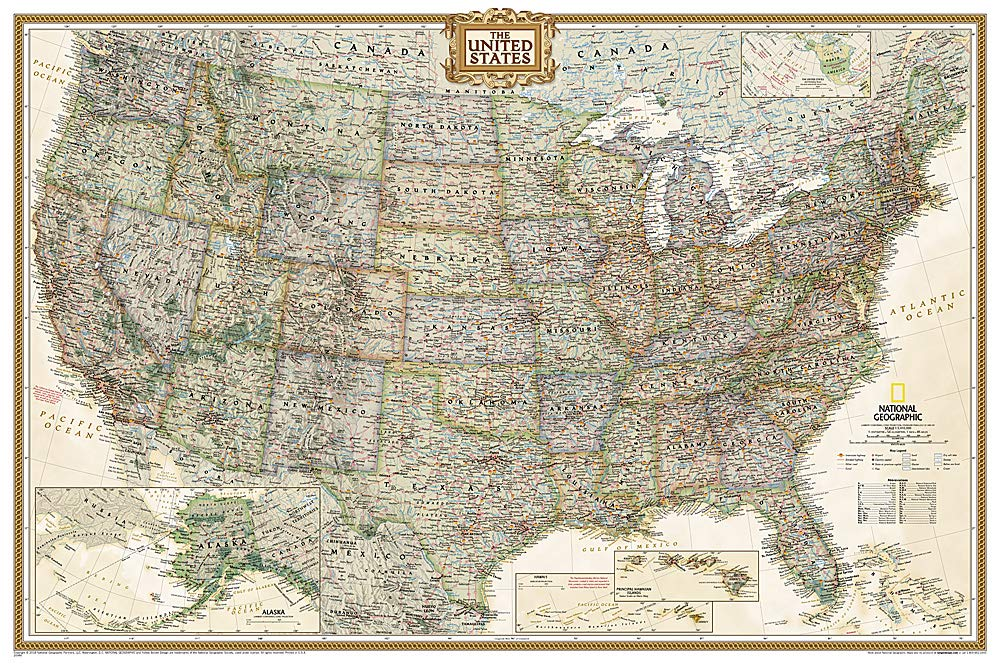 National Geographic Map Of Us National Geographic: United States Executive Wall Map (Poster Size