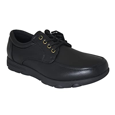 Gelato 8551 Moc Toe Lace up Slip & Oil Resistant Men's Comfort Work Shoe with Water & Stain Resistant Upper Black 10.5 D(M) US | Loafers & Slip-Ons