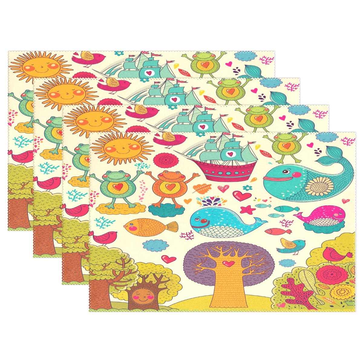 Animals Fishes Tree Sunny Day Place Mat Table Mat for Kitchen Dining Room Heat Insulation Anti-skid Home Decor by MOCK ST Place Mat 12 x 18 inches Set of 6