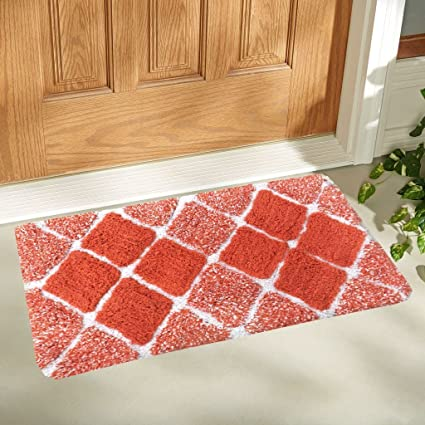 Buy Generic Cotton Swiss Home Designer Door Mat, 40x60x2cm (Orange on table cover for home, designer welcome mats, speakers system for home,
