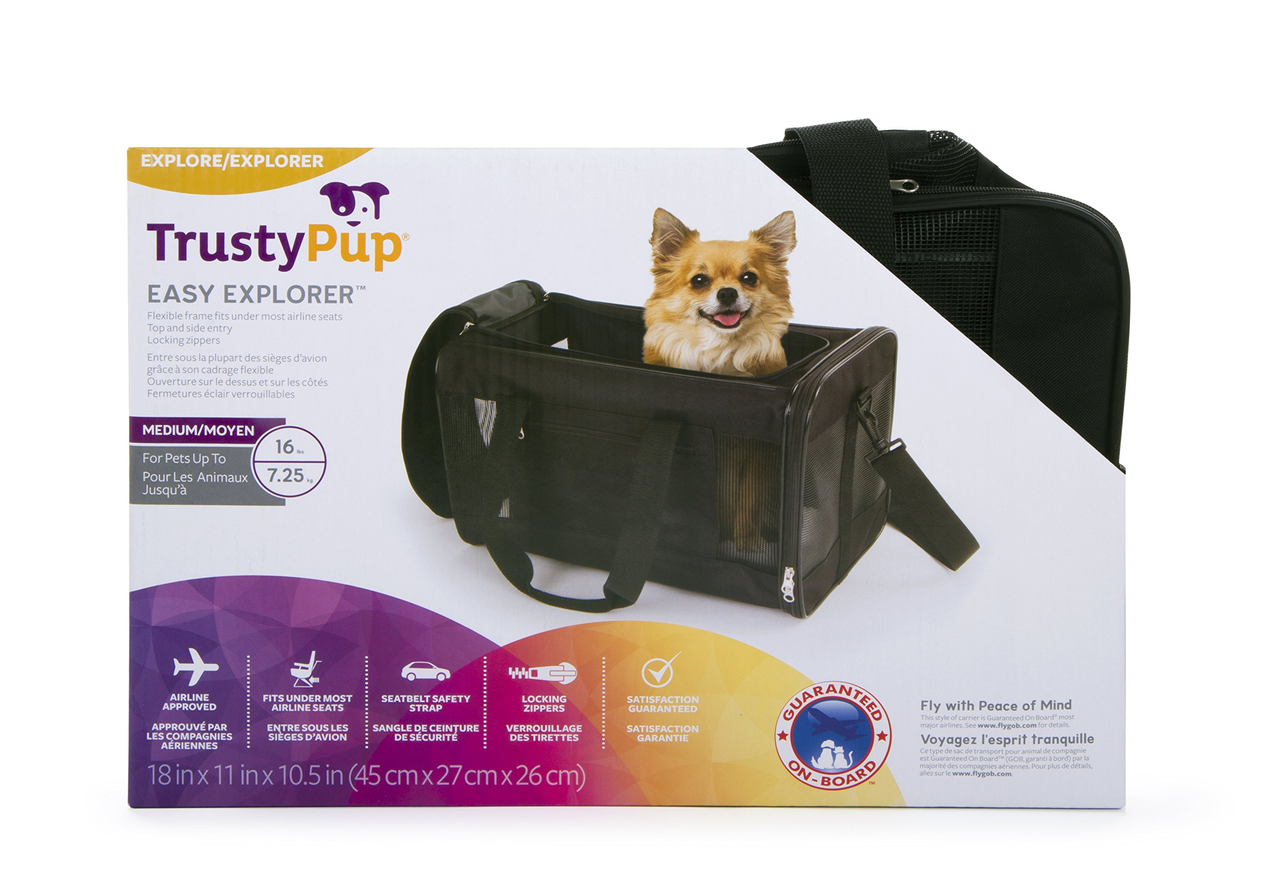 TrustyPup Travel Easy Explorer Airline Approved Pet Carrier, Medium, Black