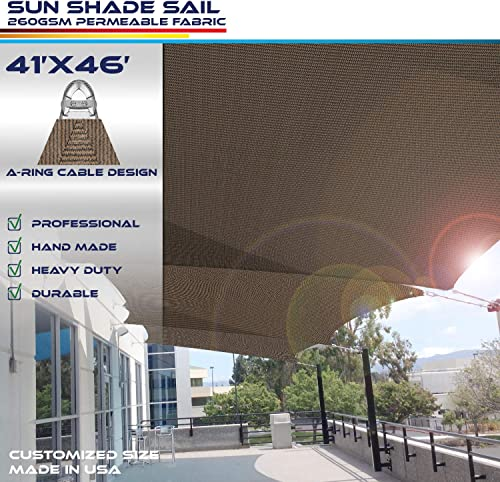 Windscreen4less A-Ring Reinforcement Large Sun Shade Sail 41' x 46' Rectangle Super Heavy Duty Strengthen Durable 260GSM