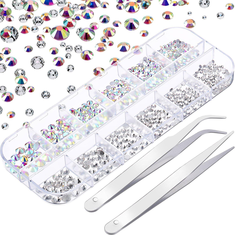 Diamantes de Imitación de Uñas Cristal AB y Cristal Transparente Gemas de Vidrio Redondas de Arte de Uña y 2 Pinzas con Estuche Organizador de Almacenaje, SS6 8 10 12 16 20