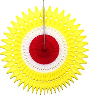 product image for 21 Inch Tissue Paper Fan, 3-Pack (Yellow/White/Red)
