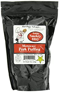 Chef Piggy Tail Microwave Pork Puffies Pork Rinds, Smokey BBQ, 16 Ounce