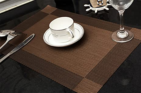 CUGBO Set Of 4 Placemats Washable Heat Resistant Table Mats Vinyl Kitchen  Dinner Table Placemats(