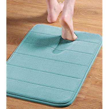 Flamingo P 17 X24  Microfiber Memory Foam Bath Mat with Anti-Skid Bottom Non-Slip Quickly Drying Green Striped Pattern