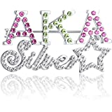 KINGSIN AKA Sorority Gifts Alpha Kappa Alpha Paraphernalia Graduation Jewelry, Crystal Colorful Pink Brooch Pins for Women, Girls, Sisters