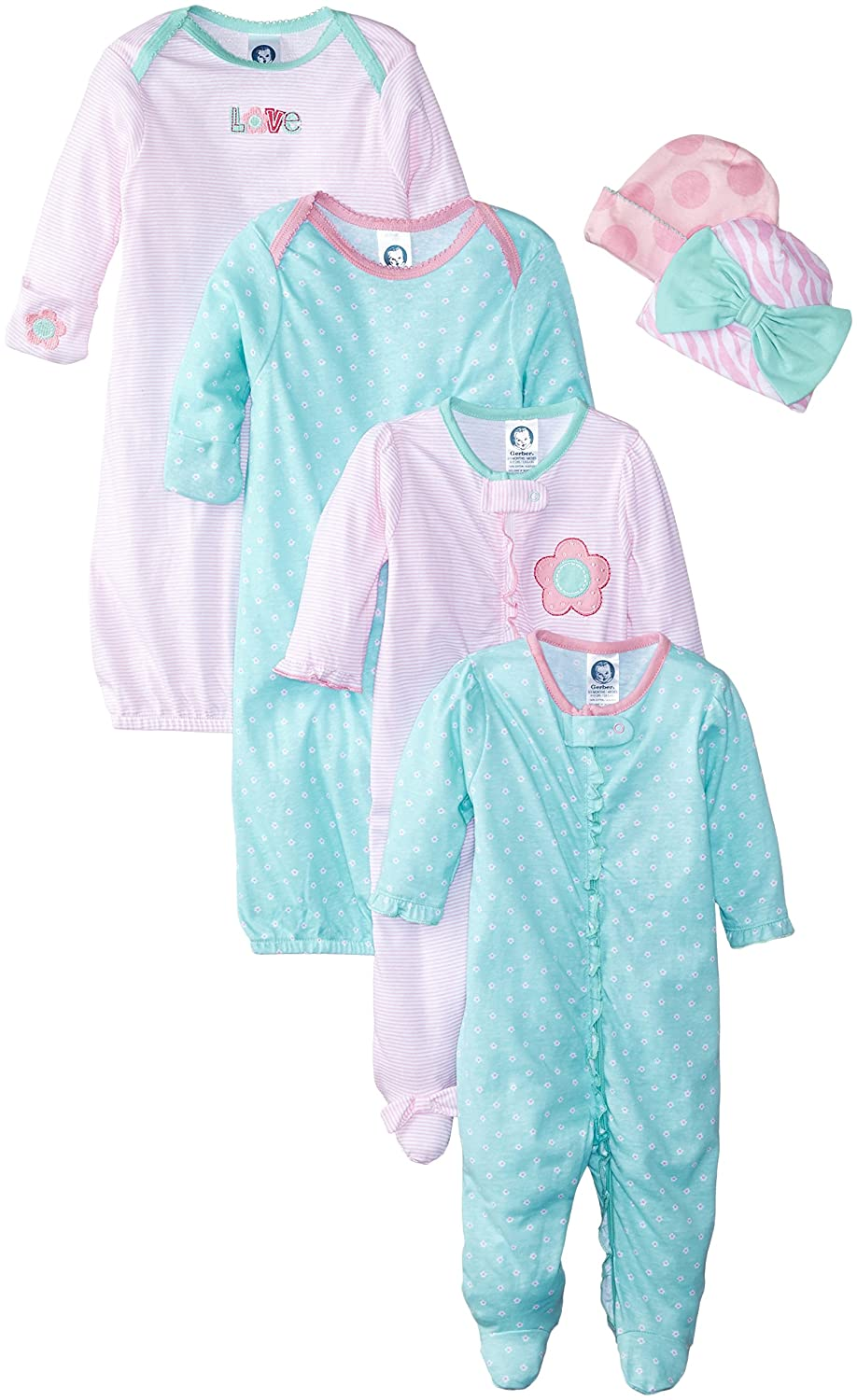 Gerber Baby Girls\' 6 Piece Gown, Cap (0-6m), and Sleep\'n Play (0-3m ...