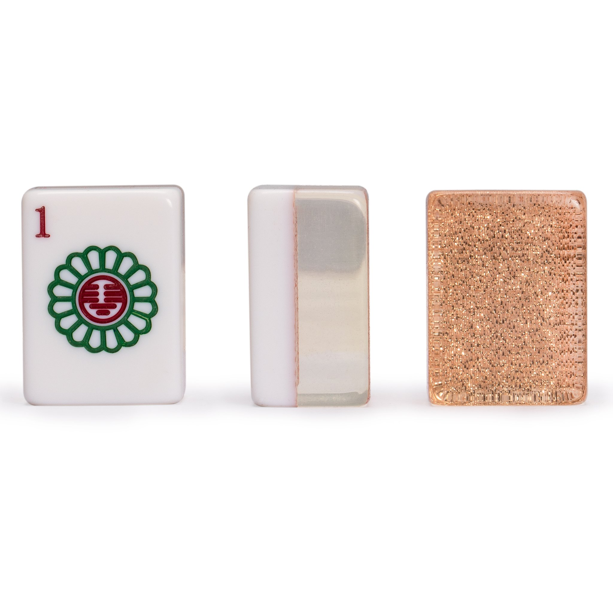 Yellow Mountain Imports Chinese Mahjong Set, Champagne Gold - with Wood Veneer Case - Medium Size Tiles: 1.3 x 1 x 0.7 inches (34mm x 25mm x 19mm) - for Chinese Style Gameplay Only by Yellow Mountain Imports (Image #5)