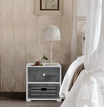 Rebecca Srl Nachttisch Nachttisch 2 Schubladen Holz Grau Weiß Vintage Schlafzimmer  Badezimmer (Cod. Re4600