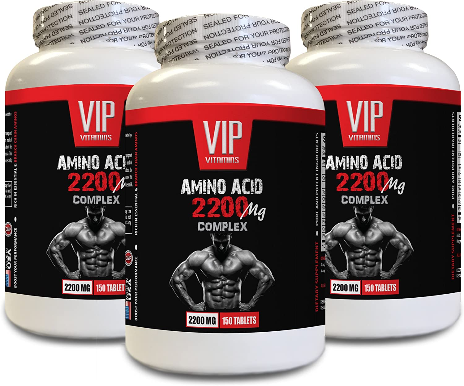 Muscle Strength Pills - Amino ACIDS Complex 2200 MG - l-glycine Supplement - 3 Bottles 450 Tablets