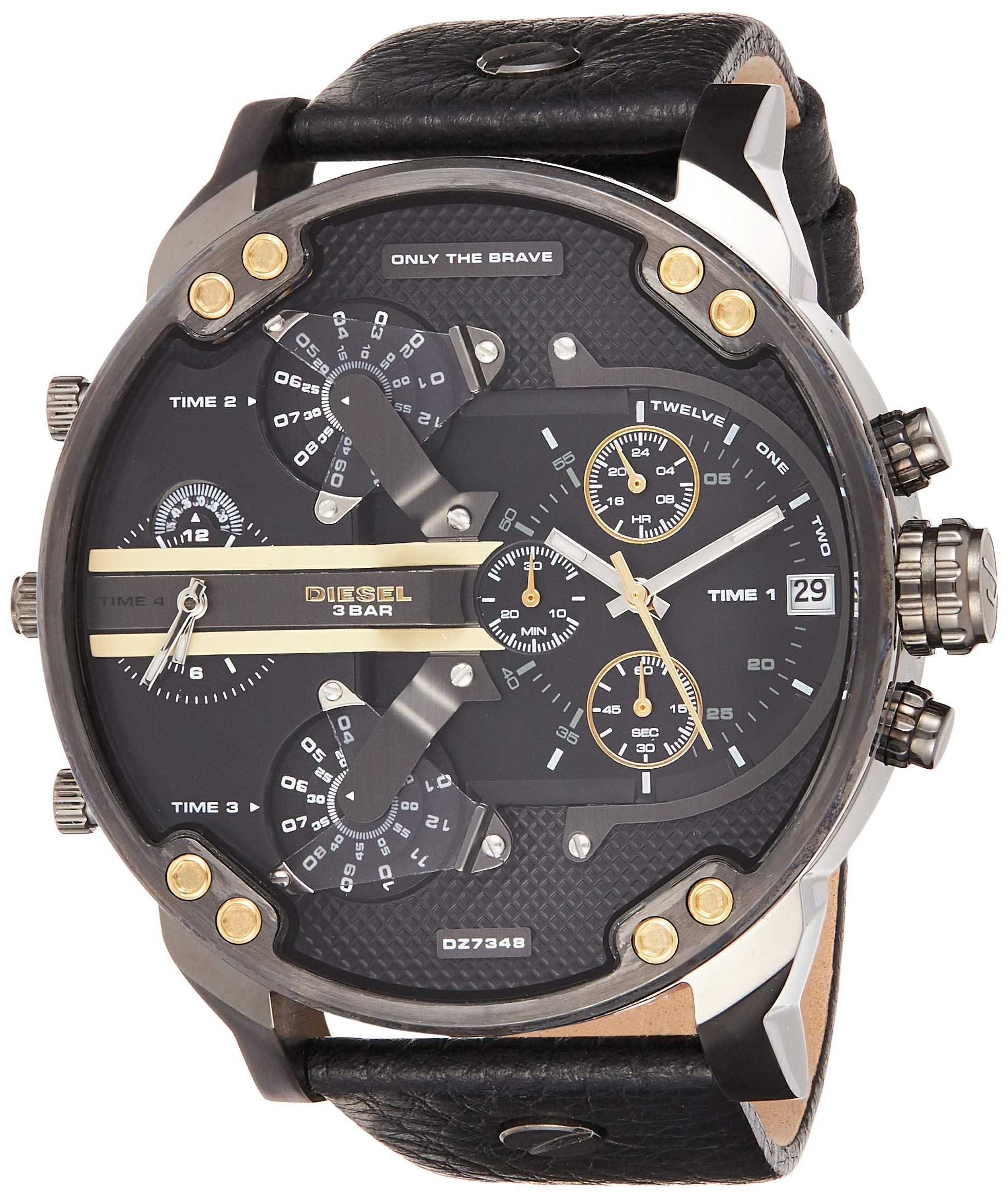 Diesel Men's Mr Daddy 2.0 Quartz Stainless Steel and Leather Chronograph Watch, Color: Grey, Black (Model: DZ7348) by Diesel