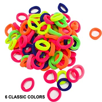 a3812687556f7 Amazon.com   Velscrun Neon Color Hair Bands Ties