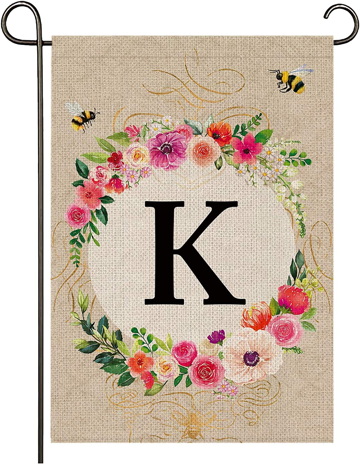 Monogram Garden Flag Letter K Garden Flag,12.5X18inches Initial Garden Flag Family Name Last Name Welcome Garden Flag, Premium Burlap Weather and UV Resistant for Outside Yard Outdoor Decoration