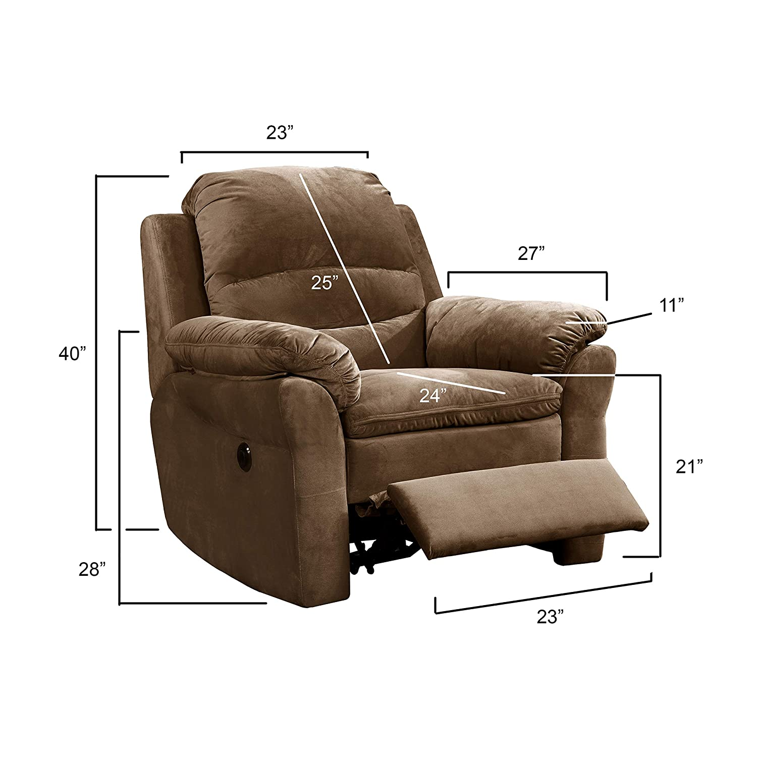 Groovy Ac Pacific Felix Collection Contemporary Style Fabric Upholstered Living Room Electric Recliner Power Chair Brown Machost Co Dining Chair Design Ideas Machostcouk