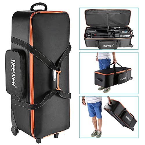 "Neewer Photo Studio Equipment Trolley Carry Bag 38""x15""x11""/96x39x29cm with Straps Padded Compartment Wheel"