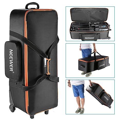 Neewer 10087972 - Bolsa de transporte para equipo de estudio de fotografía,96 x 39 x 29 cm, con correas acolchadas, rueda de compartimento y asa para ...