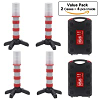 WISLIGHT LED Emergency Roadside Flashing Flares Safety Strobe Light - Road Warning Beacon, Magnetic Base, Detachable Stand, Storage Case (2 Cases = 4 PCS, Battery Not Included)