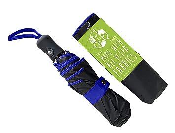 vente chaude en ligne bf37a f2bbd SMATI Parapluie en Tissu Recyclé - Objet écologique - Solide Anti Vent -  Automatique Ouverture Fermeture - Parapluie Pliant Compact Voyage(Bleu)