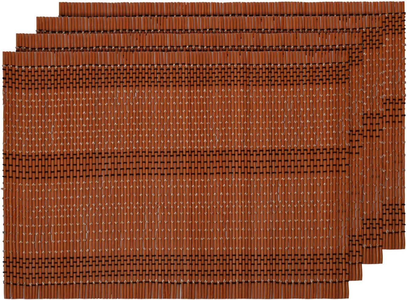 BTS-100 Alsino Set de Table 4 pi/èces en Bambou Marron 30 x 40 cm Rectangulaire Lavable Ecologique R/ésistant /à la Chaleur D/écoration Naturelle et Moderne Tapis