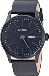 Nixon Mens A105 Sentry 42mm Stainless Steel Leather Quartz Movement Watch