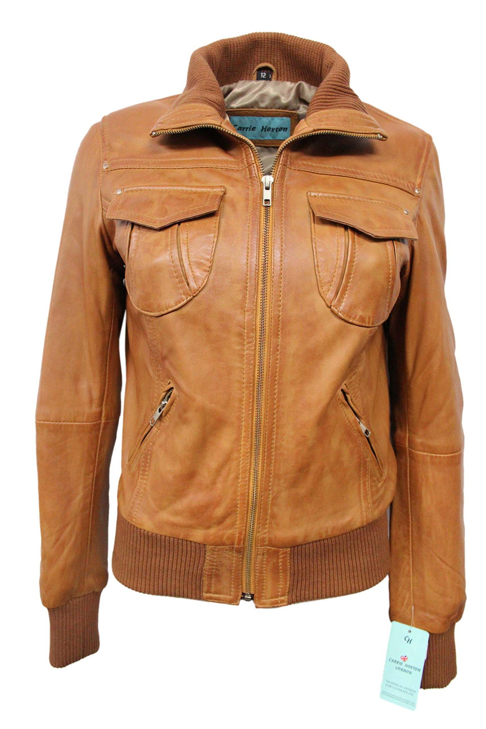 'Fusion' Ladies Tan Washed Short Bomber Biker Motorcycle Style Leather Jacket (UK 18/US 14, Tan)