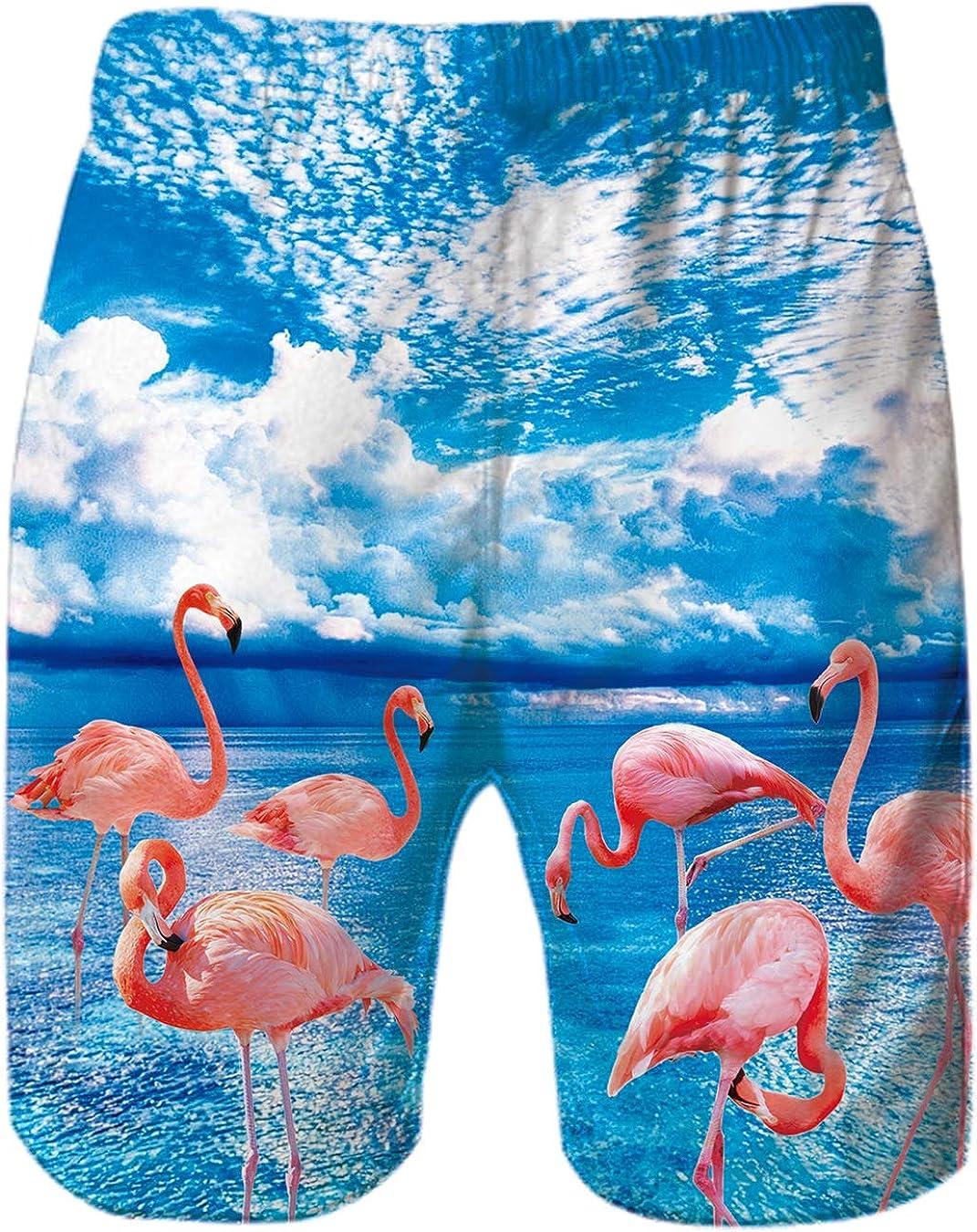 Goodstoworld 3D Costume da Bagno Uomo Estiva Hawaii Stampa Pantaloncini con Regolabile Coulisse Protezione UV per Surf Mare Spiaggia