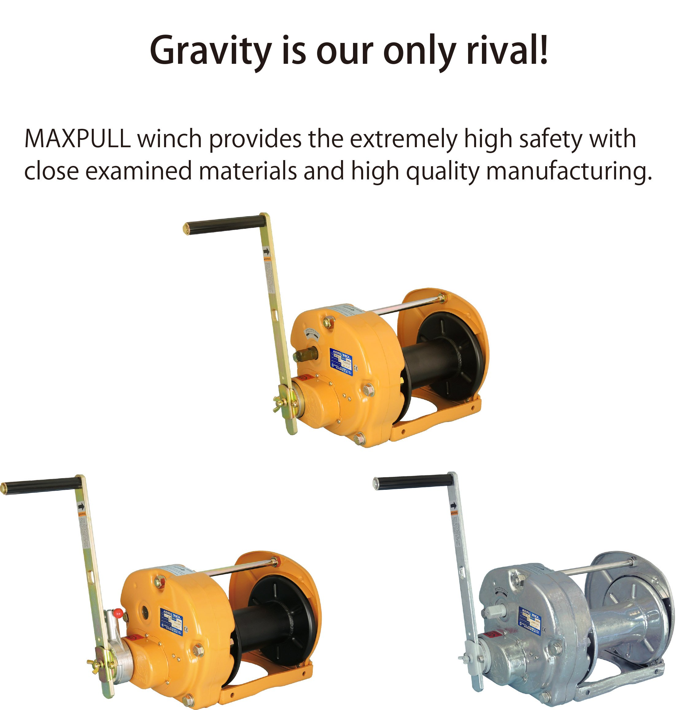 Pulling Hand Manual Winch with Automatic Brake 300 kg Capacity without Cable or Wire Rope Maxpull Steel Ratchet Handle Spur Gear Heavy Duty Lifting 660 lbs MR-3-SI