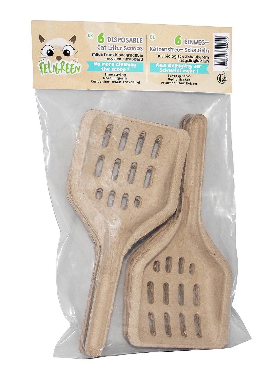 FELIGREEN Pack DE 6 pelles à Litière jetables pour Le Voyage en Carton recyclé hygiénique et Biodégradable
