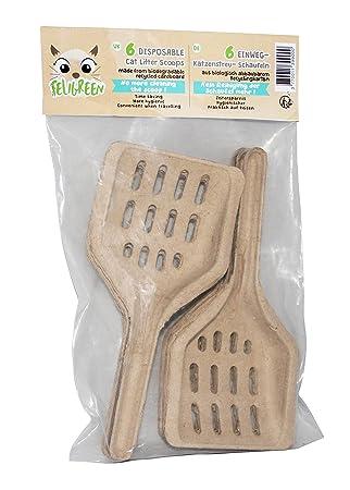 FELIGREEN Pack de 6 palas de arena de desechables (cartón reciclado higiénico y biodegradable: Amazon.es: Productos para mascotas