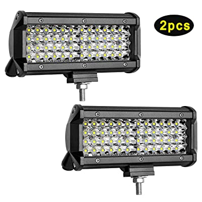 Led Light Bar,2 Pcs 7 Inch Led Spotlight off Road Driving Fog Lights Super Bright Work Light for UTV ATV Truk Jeep Pickup Boat Trailer: Automotive