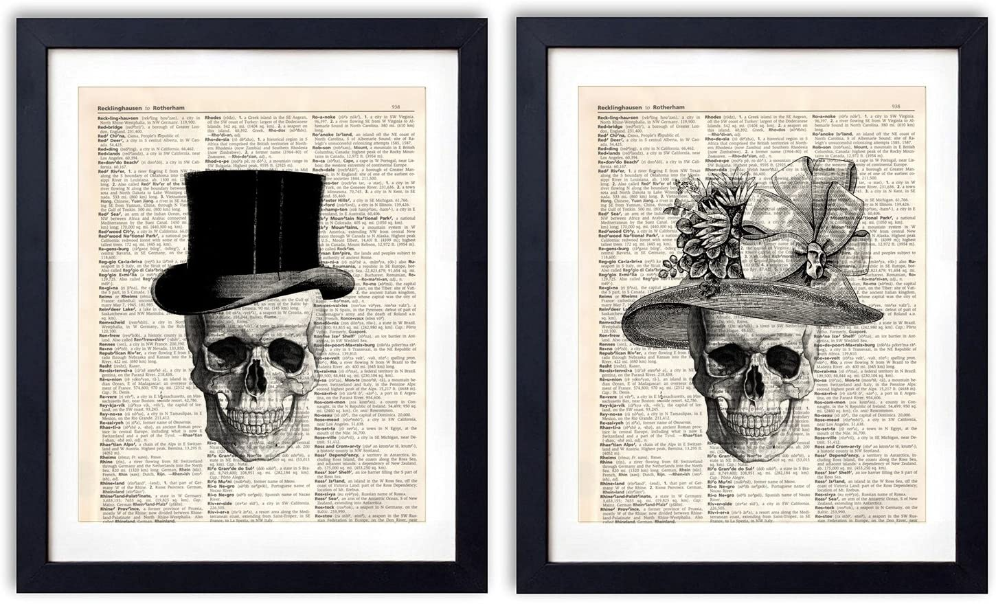 akeke Skull Decor Vintage Dictionary Art Print Two Set - Skull Decorations Gentleman Lady Hat - Bone Art Wall Decor 8x10 inch Unframed Skull Couples Gifts for Women Men